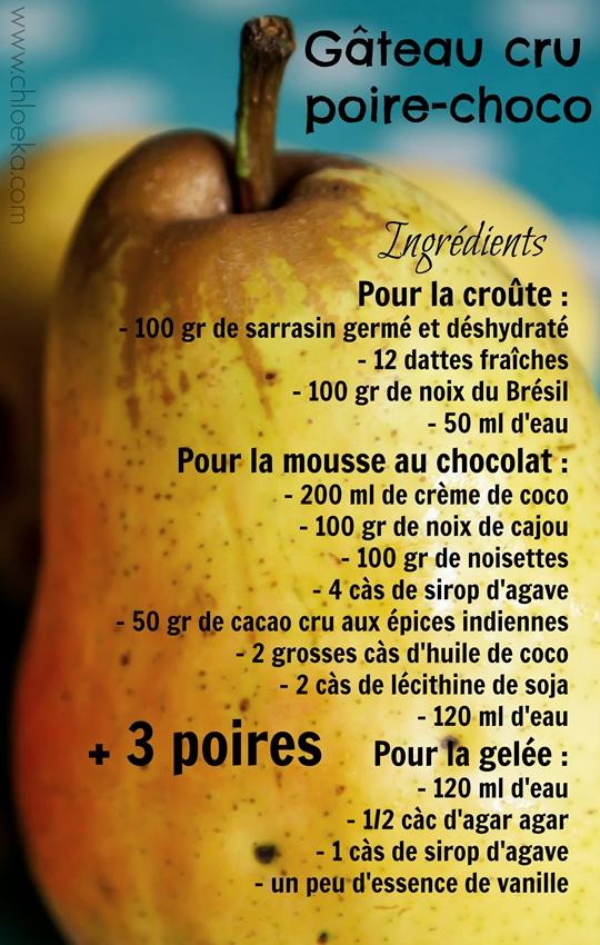 chloeka Ingrédients gâteau poire choco sept 2015