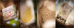 Farines de châtaigne, maïs, sarrasin et amandes en poudre.