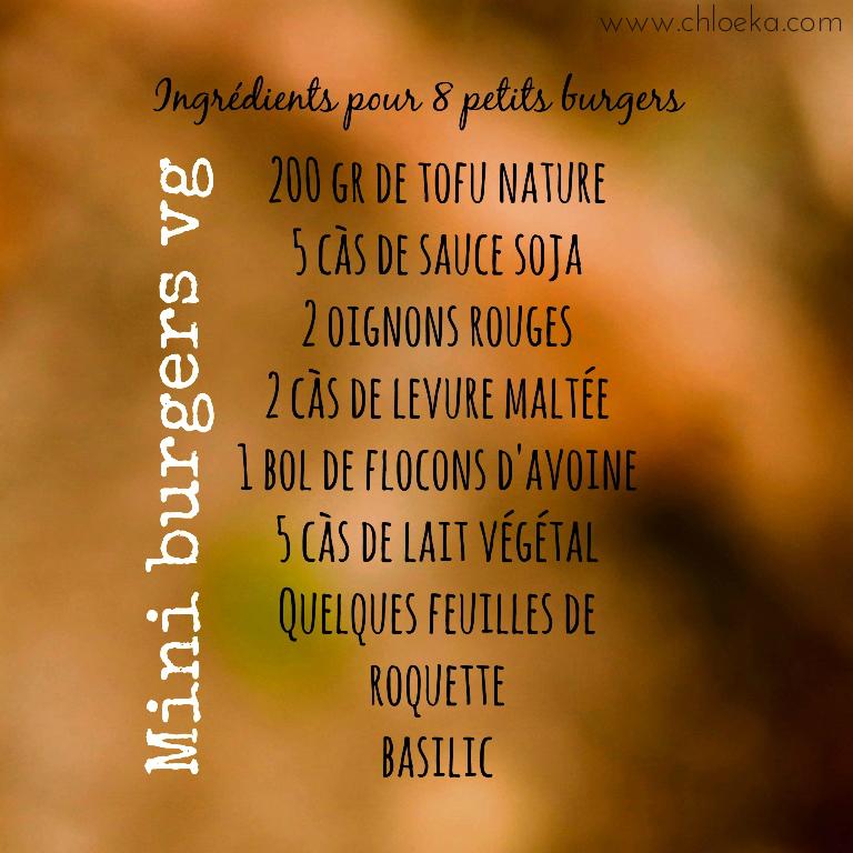 chloeka - ingrédients mini burgers vg