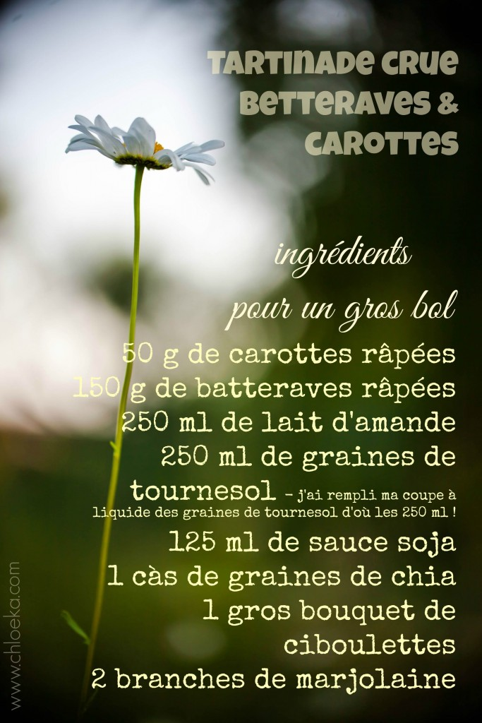 chloeka- ingrédients tartinade betteraves carottes