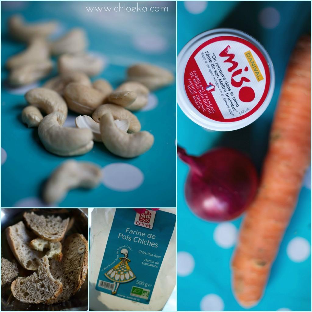 chloeka-moelleux salé aux noix de cajou- mars 2015-ingrédients